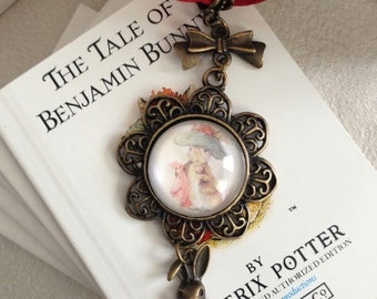 Beatrix Potter The Tale of Benjamin Bunny Antique Bronze Necklace with Rabbit Charm