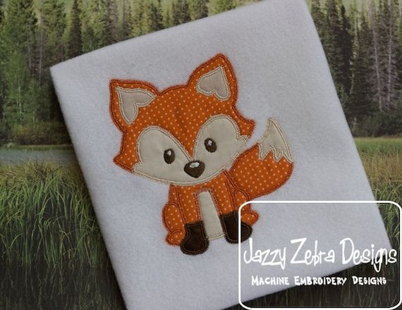 Fox 15 Appliqué embroidery design with Square Diagonal Stitching - fox appliqué design