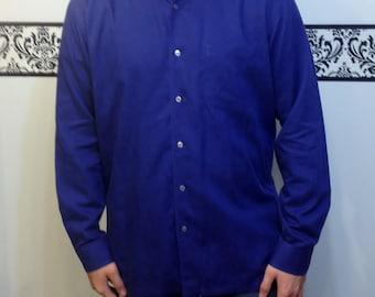 Authentic 1990's Purple Label Ralph Lauren Men's Button Up Shirt, Large / XL Vintage Hipster Shirt / Rockabilly, Large / XL, Long Sleeve