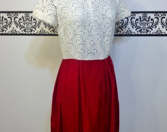 1950's Lace and Red Velvet Holiday Pin Up Dress, Size Small, Vintage Hipster Special Occasion Dress, Mad Men 1960's Dress in Lace and Velvet