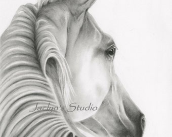 "Charcoal Drawing Giclee Print - 8""x10"", Charcoal Sketch, Charcoal Horse Art, Horse Print, Horse Sketch, Horse drawing, Equine Art"