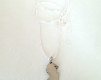 Custom New Jersey NJ State Necklace with Heart over Home Town