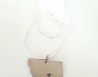 Custom Montana State Necklace with Heart over Home Town