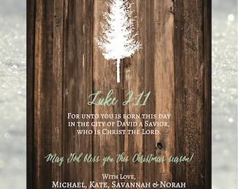 Rustic Tree Christmas Card // 5x7 DIY Printable // Christian Christmas Card, Rustic Christmas Card, Religiou