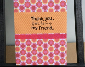 Handmade, Stamped, Pink and Orange Thank you Card