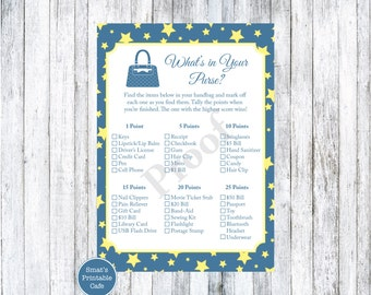 Twinkle Twinkle Little Star Baby Shower What's In Your Purse Game - PRINTABLE Star Theme - Handbag Baby Shower Game