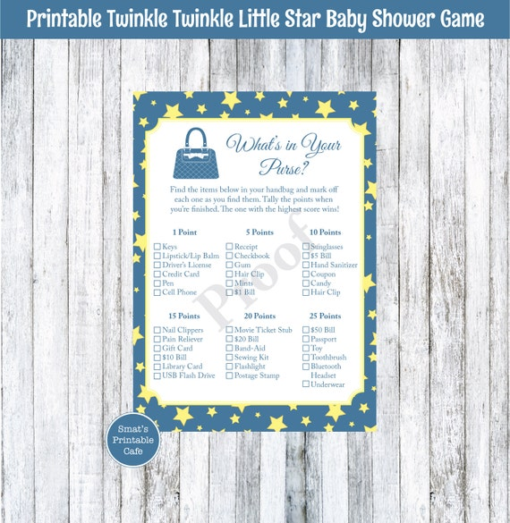 twinkle twinkle little star baby shower what 39 s in your purse game
