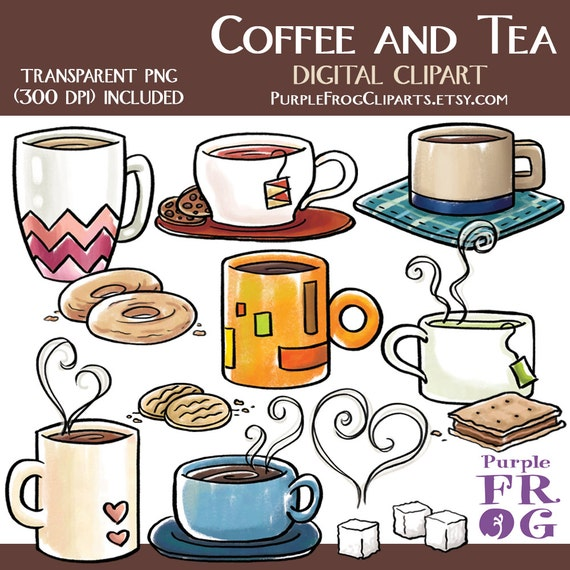COFFEE AND TEA Digital Clipart Clip art. 15 images 300