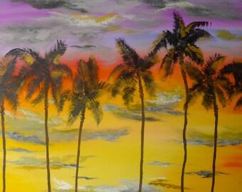ORIGINAL OIL PAINTING -  Holiday Sunset