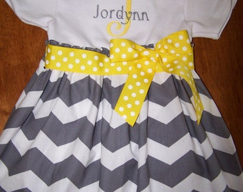 Monogrammed Gray and white chevron  baby gown or dress