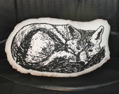 Fox shaped accent pillow - screen print - Made to order