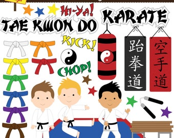Karate Clipart - Karate Kids Clip Art - Tae Kwon Do Clipart- Personal Use - Commercial Use - Card Design, & Scrapbooking