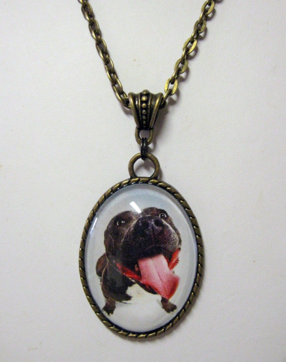 pitbull pendant with chain dap09 064 by gwendyspetshop on etsy