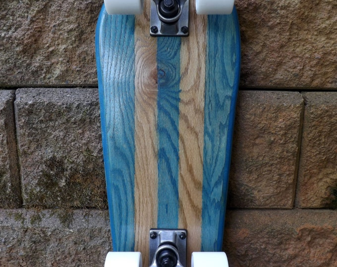 the Gnome II - Complete Cruiser Skateboard - Turquoise Blue with Pinstripes - Trucks and Wheels