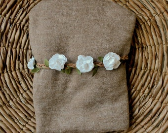 Baby Stretch Knit Wrap and Headband, Flower Halo and Wrap, Swaddle Wrap, Brown Wrap, White / Cream Flower Headband, Newborn Baby Photo Prop.