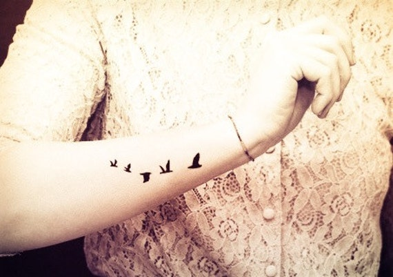 5pcs Flying Birds Swallow Tattoo - tatouage temporaire InknArt - pack tatouage citation poignet cheville corps ancre faux tatouage autocollant