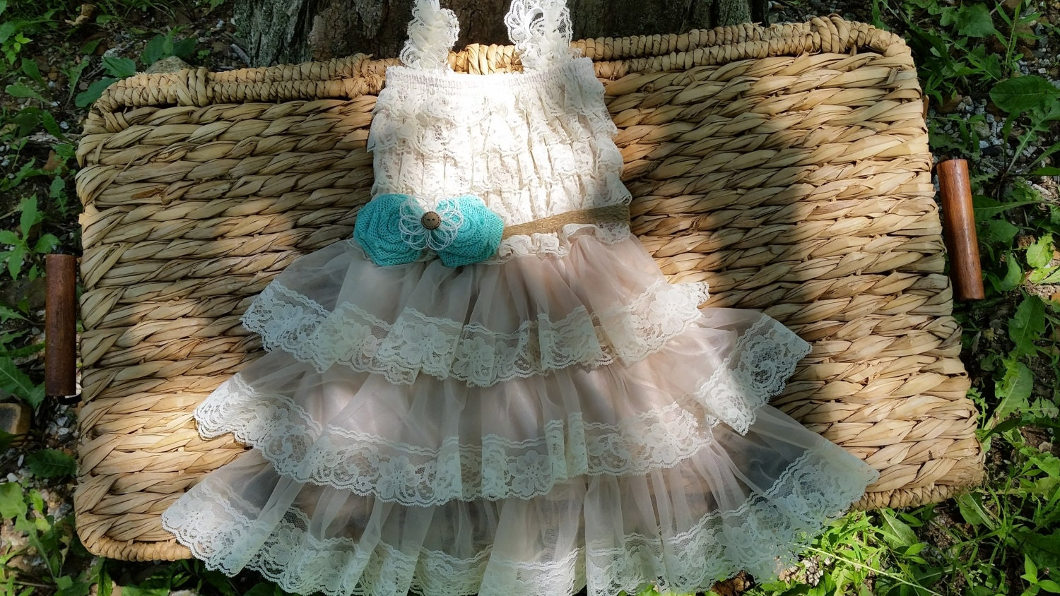 Rustic Flower Girl Dress Mint Blue Flower by CountryCoutureCo