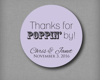 Thanks for Poppin By Wedding Favor Stickers Popcorn Favors Labels Personalized Bridal Shower Sticker