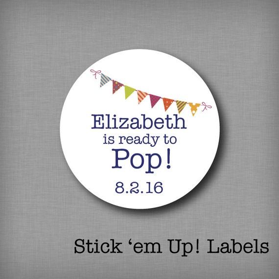 She39s ready to pop stickers custom baby shower by stickemuplabels for Shes ready to pop stickers