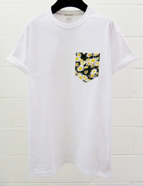 Men 39 s floral daisy pattern white pocket t shirt for Custom t shirts with pockets