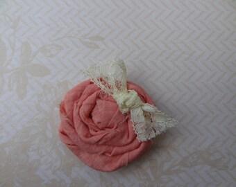 Peach Rolled Fabric Flower Hair Clip