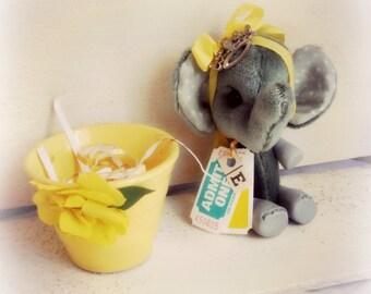 Artist Bear   Elephant in Vintage Flower Pot