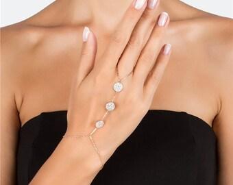 Slave Bracelet ~ Gold Hand Chain Bracelet ~ Matte Brushed Gold Hand Chain ~ Hand Piece ~ Gold Slave Bracelet ~ Hand Chain Ring Bracelet