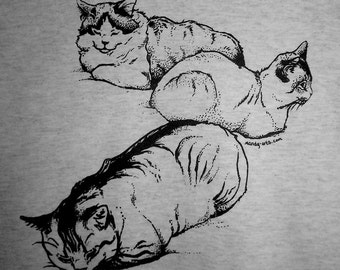 CLEARANCE Sleepy Cats Screenprinted Tshirt