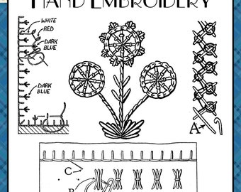 Hand Embroidery Vintage Pattern INSTANT DOWNLOAD