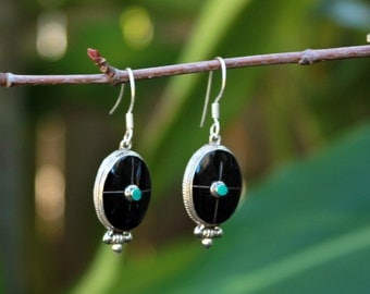 Black and turquoise sterling silver oval dangle earring