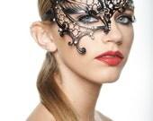 Unique Black Phantom Metal Laser Cut Masquerade Mask Aurora Borealis Rhinestones