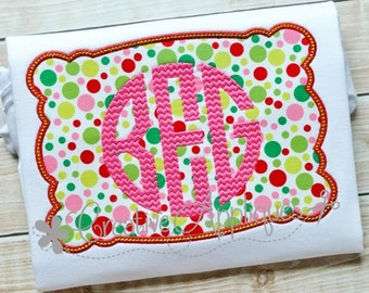 Rectangle Scallop Monogram Frame Digital Machine Embroidery Applique Design 4 sizes