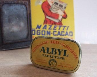 Old metal box medicine ALBYL Sweden / / Collectable vintage boxes / / vintage Medicine
