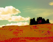 Southwestern Landscape, Desert Print, Mountain Wall Art, Aqua And Orange, Cloud Print, Desert Photography, Magestic by Paula DiLeo_