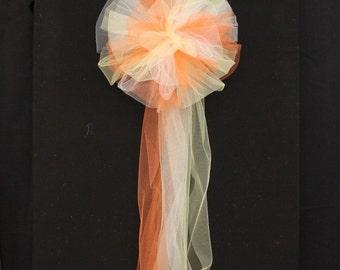 Orange Yellow White Tulle Wedding Pew Bows Church Ceremony Asile Decorations