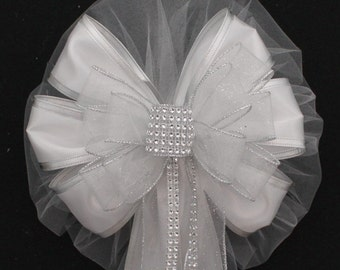 Silver Bling Sparkle Wedding Pew Bows - Bling Wedding Bows, Church Pew Bows, Wedding Aisle Decorations