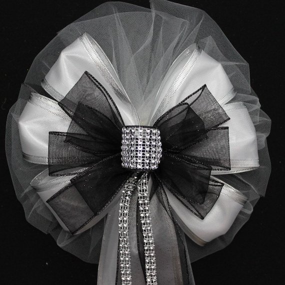 Wedding Ideas For Church Pews: Black Bling Glitter White Wedding Pew Bows