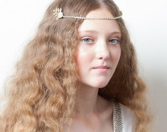 Gold Bridal Headpiece with leaves - Greek Goddess headpiece - Wedding Headpiece - Pre-Raphaelite  - Crystal Brow band -UK