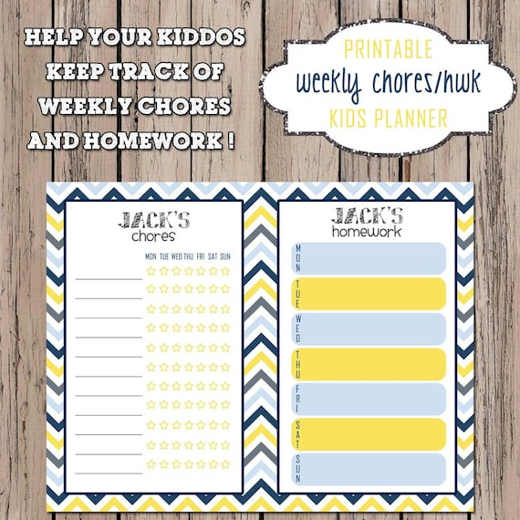 Kids Planner - Printable Weekly Kids Chores and Homework Chart - DIGITAL FILE