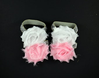 Baby Barefoot Sandals - Light Pink White Silver - Shoe Clips - Baby Sandals - Baby Shoes - Infant Sandals - Baby Girl Shoes