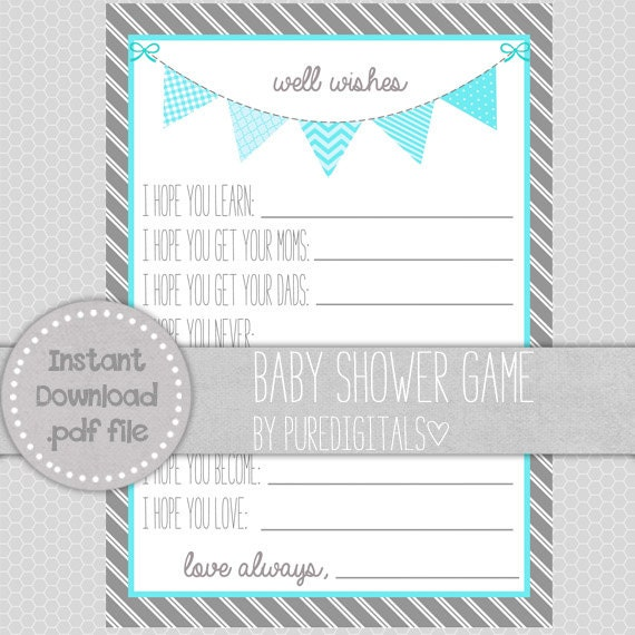blue baby shower printable well wishes for baby baby shower diy