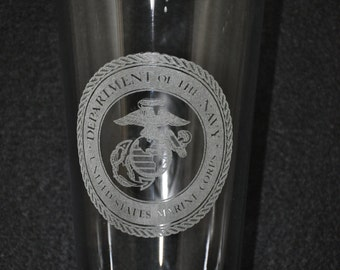 Laser engraved US Marine water / iced tea glass