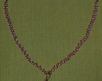 petra violet: hand woven copper chain necklace featuring handwrapped agate pendant