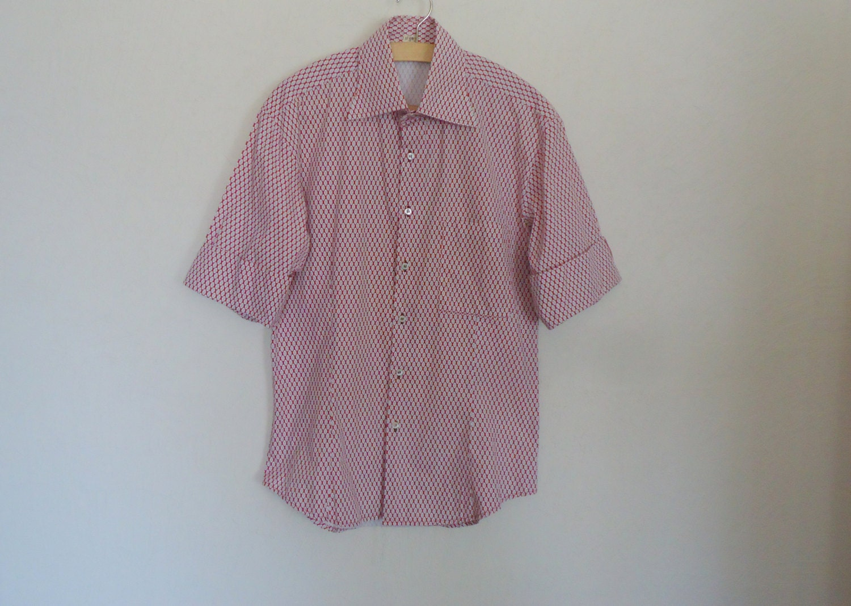 Vintage mens button up shirt short sleeve dress by vintageagency for Mens red button up dress shirt