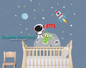 Space Wall Decal, Moon Wall Decal, Rocket Wall Decal, Stars (Mini Moon Mission) MMMO