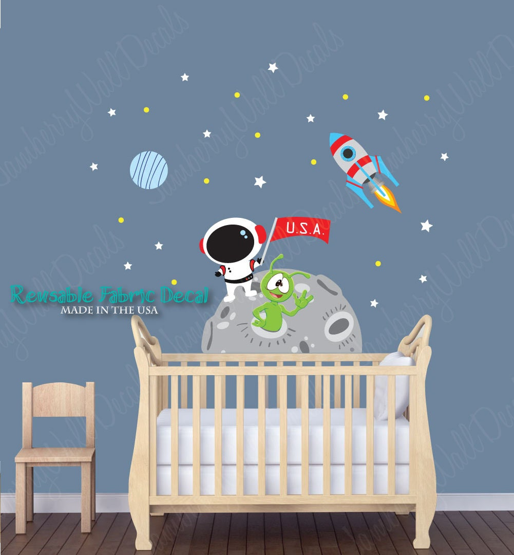 Space wall decal moon wall decal rocket wall decal stars for Outer space vinyl wall decals