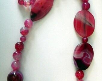 """Raspberry Quartz Stalactite Bead Necklace 29 1/2"""""""