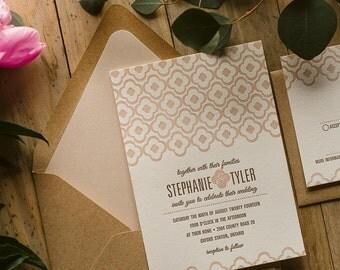 Rustic Wedding Invitation, Cameo Pink, Kraft, Blush Wedding Invite, Rustic Wedding Invite with quatrefoil pattern - Sample Set
