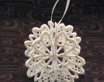 Embroidered Snowflake Christmas Tree Ornament