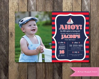 PRINTABLE Nautical First Birthday Invitation with Picture - 1st Birthday Invitation -  Girls Boys Birthday Party 4x6 or 5x7